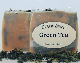 Green Tea Soap, All Natural Soap, Handmade Soap, Cold Process Soap, Handcrafted Soap, Homemade Soap, Essential Oil Soap, Bar Soap, Soaps