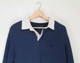Vintage Rugby Shirt Izod Blue Rugby Polo Cotton Oversized Medium Mens Collared Striped Long Sleeved Thick