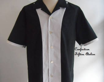 Bowling shirt black and white