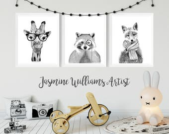 DOWNLOADABLE PRINTS, black and white, set of three prints, printable artwork, instant download, animal printable, prints for nursery