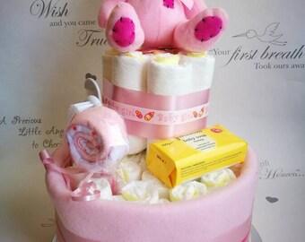 Baby Girl nappy cake, baby shower gift,  new baby gift, newborn gift, pink nappy cake, diaper cake, maternity gift,