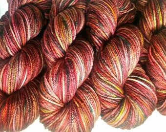 EVENING By The FIRE, Hand Dyed dk Yarn, Indie Dyed Yarn,Hand Dyed Yarn,Variegated Hand Dyed Yarn