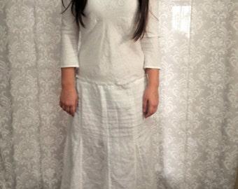Linen Wedding Dress, Boho Beach Wedding Dress, Hippie Wedding Dress, Casual Wedding Dress, Eco Friendly Linen Upcycled Dress