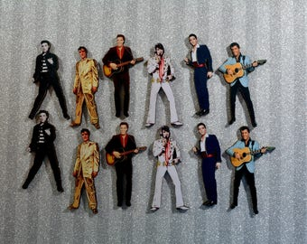Elvis Presley  Wood Laser Cuts ~ Collection of 12.  Art Project/ Embellishments / Scrapbook Supplies/ Jewelry Making