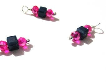 10PC. Navy and Fuchsia Sparkle AB Austrian Crystal Bead Charms//Handmade Bead Charms// Bead Dangle Adorned w/Shiny Silver Tone Plated Accent