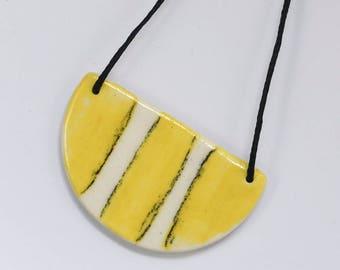 Sketched - Yellow Half Moon Necklace