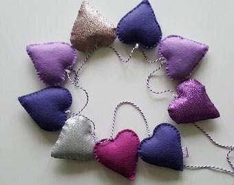 Heart garland-heart bunting-hearts-wall decor-winter decor
