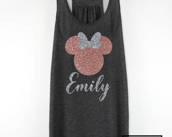 Rose Gold Glitter Minnie Mouse Tank Top, Minnie Mouse, Sparkle Tank, Disney Glitter Tank Top, Custom Minnie Tank Top, Rose Gold Shirt