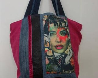 Magazine, denim tote bag and pink glitter