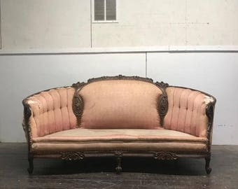 Antique Victorian Velvet Couch with Carved Wood - Beautiful Victorian Sofa Frame with Pink Brocade - Ready for Customization and Upholstery!