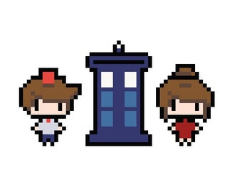 Dr. Who Doctor & Clara Cross Stitch Pattern-PDF Download