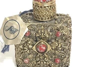 Vintage Mini Perfume Glass Bottle Filigree Red Stone Bohemia Czech original tag