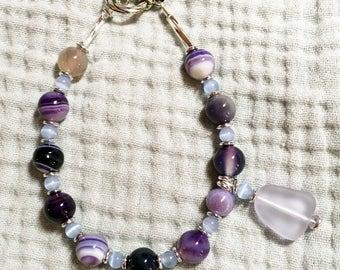 "7 1/2"" Purple Banded Agate Bracelet"