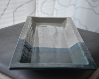 Serving Tray in Clear and Blue-Green