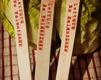 Lettuce Be Valentines Earthenware plant marker