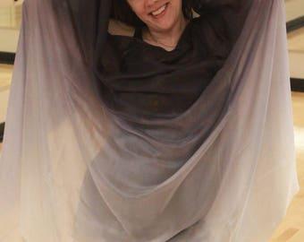 Hurricane Jo Jo Silver, Gray and White Silk Bellydance Veil Bellydance Costume