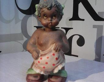 Vintage Rare Black Americana Little Girl Nodder/ Ardalt Japan Lenwile China  FREE SHIPPING