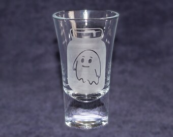 Ghost in a jar etched SHOT GLASS - Rick and Morty - Custom shot glasses for him her girlfriend boyfriend - gift - Novelty present