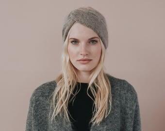 Mohair Knit Headband // Turban Headband//Brown Earwarmer //Moca Colour