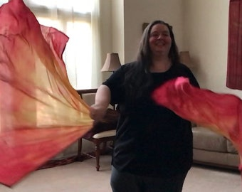 Prophetic - Silk Flag - Worship Flag - Praise Dance - Dyed Silk - Swing Flag - Regular Swing Wing Pair called Holy Fire