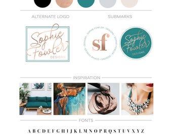 Teal Copper Branding Kit, Initials Logo Design, Premade Branding Package, Photography Logo Stamp Fashion Blog Logo, Modern Business Logo