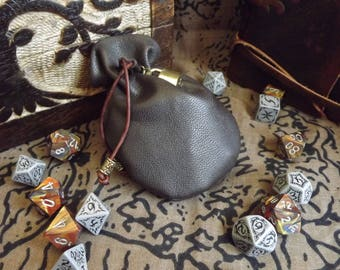 Leather Dice Bag - Brown - Locked