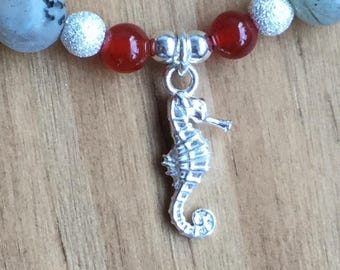 Crystals and SeaHorse Bracelet with Sterling Silver Beads