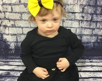 Vinyl Bow- Yellow Headband; Gray Headband; Yellow Bow; Gray Bow; Newborn Headband; Baby Headband; Infant Headband; Toddler Headband; Bows