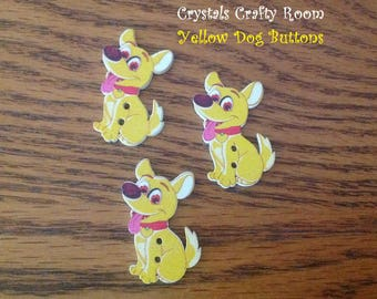 Dog Wooden Buttons Yellow Painted 2 Hole Set of 3 For Sewing, Crafting, Novelty, Scrapbooking, Embellishments