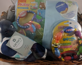 Newborn Baby Gift Basket (Carter's Blanket, Burp Cloths, Nuby Teethers, Carter's Security Blanket)