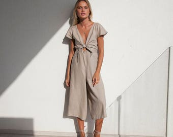 NEW!  Chic Womens Summer French Linen Jumpsuit | Tie Front Linen Ladies Romper | Linen Jumpsuit Summer | Natural | Culotte Pant | Long