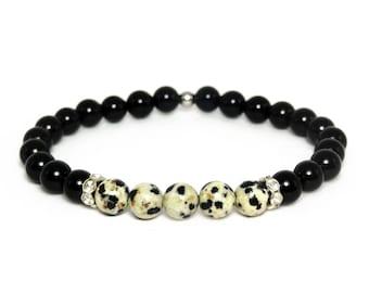 6mm Onyx & Dalmatian Jasper Bracelet, Gift for her, Gemstone Bracelet, Onyx Bracelet, Beaded Bracelet, Healing Bracelet, Anniversary gift