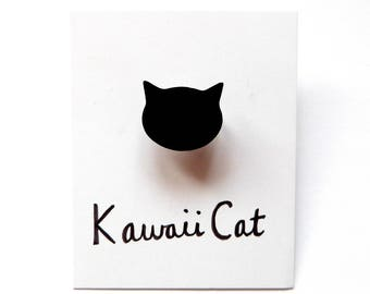 Silver Plated Cat Ring Black Cat Cat Jewellery Cute Adjustable Ring Kawaii Ring Kawaii Jewelry Cat Accessories