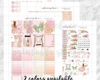 Fairy Tale printable planner stickers /EC vertical weekly kit / ECLP / pdf, jpg, cut files / glitter