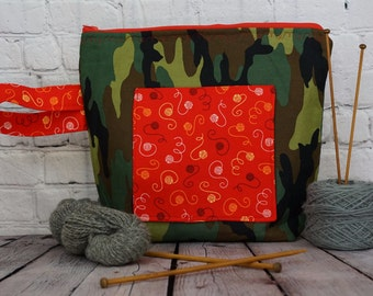 Camo  and Yarn  Project bag, Knitting project bag, Crochet project bag,  Zipper Project Bag, Yarn bowl, Yarn tote