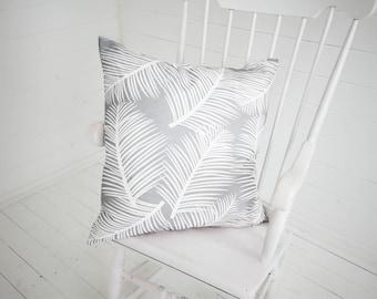 Palm Leaf Garden Grey White Cushion Pillow Tropical Palm Tree