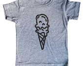 Kids Minimal Ice Cream Cone Shirt | Child | Clothing | For Gift | Birthday | Dessert | Short Sleeve | Triblend