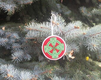Embroidered Christmas Ornament - Celtic Cross