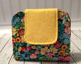 Flowered Fabric Wallet with Magnetic Snap