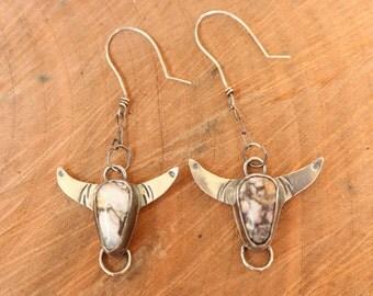 Wild Horse Magnesite steer bull skull silver dangle earrings