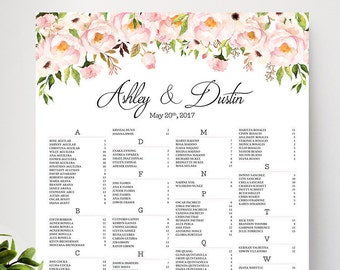 Wedding decorations, Wedding seating chart alphabetical, Wedding Seating Chart, Wedding Seating Chart Poster - US_WC0901b