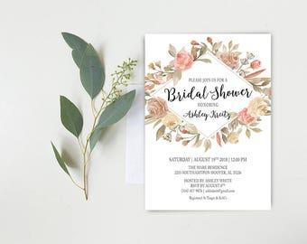 Watercolor Bridal Shower invitation, Bridal shower invitation, Rustic bridal shower invitation, Floral Bridal Shower - US_BI2305