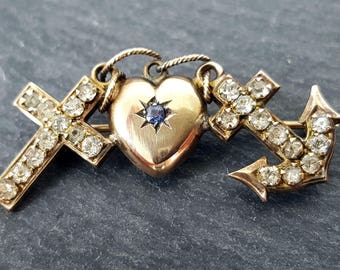 Victorian 9ct Gold Faith, Hope & Charity Brooch + Original Box