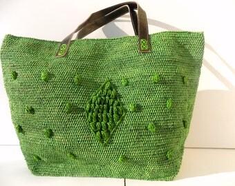 tote bag, large, tote bag, straw, raffia handbag purse bag, green, beach bag, travel bag, purse bag, beach/raffia beach bag /straw