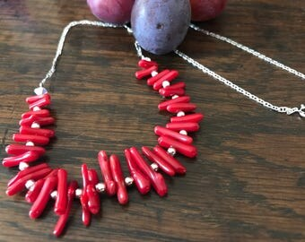 Silver coral necklace - necklace earrings 925 sterling silver beads