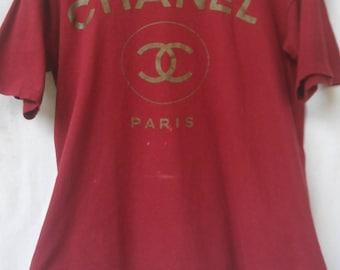 Vintage Chanel T Shirt//French Designer//Tag JAM//Big Logo//Made in Usa//Single Stitch