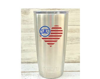 American Flag decal, Flag heart decal, Heart decal, Heart Yeti decal, Flag car decal, Patriotic decal, American flag vinyl, Yeti decal