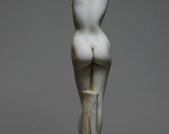 "Naked Nude Female Woman  Alabaster Statue Sculpture Erotic Figure 9.45"" - 24cm **Free Ship** & **Free Tracking Number**"