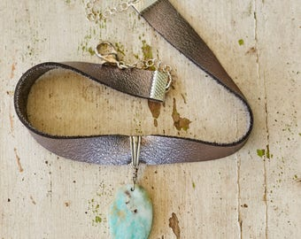 silver leather choker with amazonite pendant