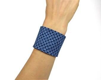 Japanese Fabric, Cuff Bracelet, Obi Style, Taylor-Made, Dots - Oriental / asian dark light blue